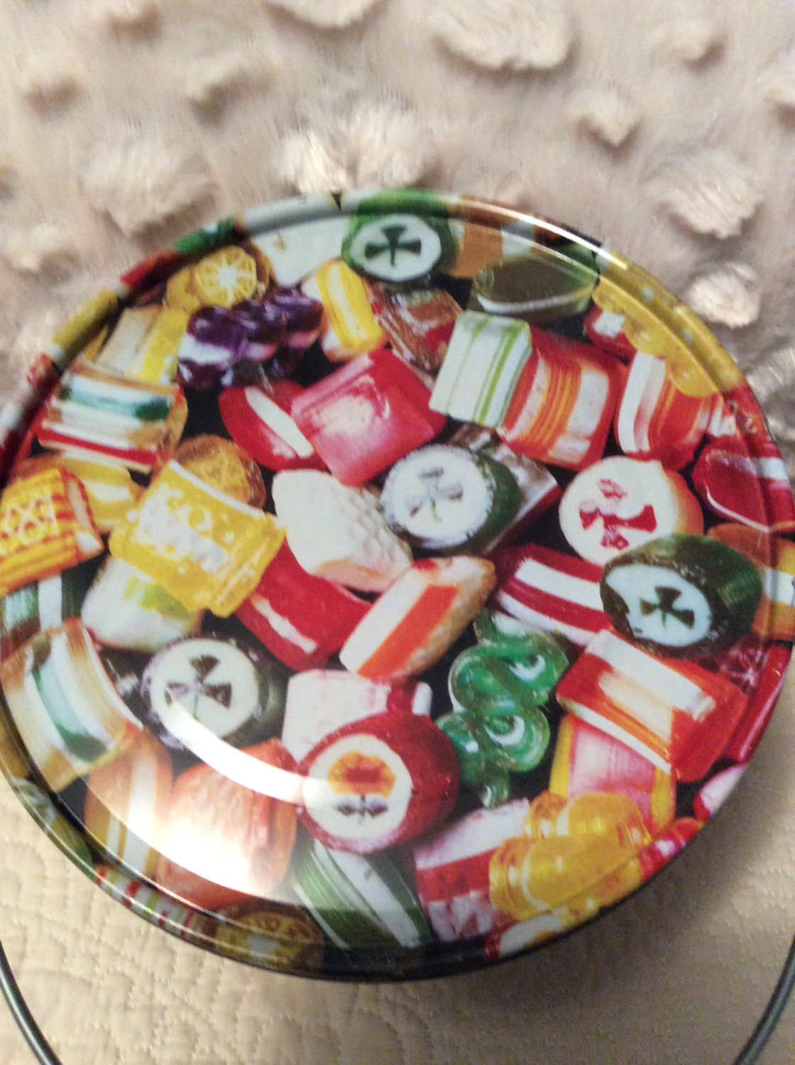 Christmas Candy Tins  Vintage Hard Candy Christmas Tin Container by