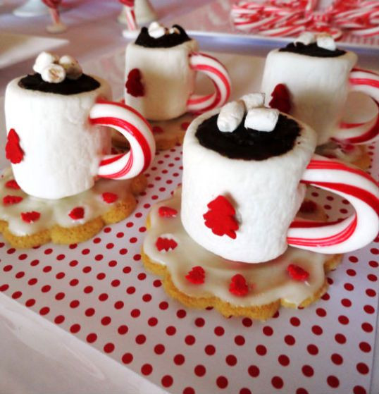 Christmas Candy Treats  Holiday cup and saucer treats made with a marshmallow