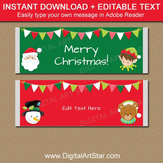 Christmas Candy Wrappers  Christmas Candy Bar Wrappers PRINTABLE Christmas Candy