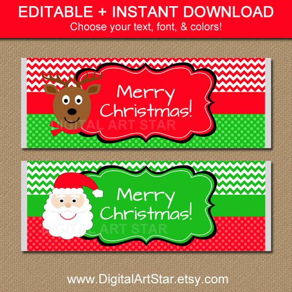 Christmas Candy Wrappers  Digital Art Star Printable Party Decor Christmas
