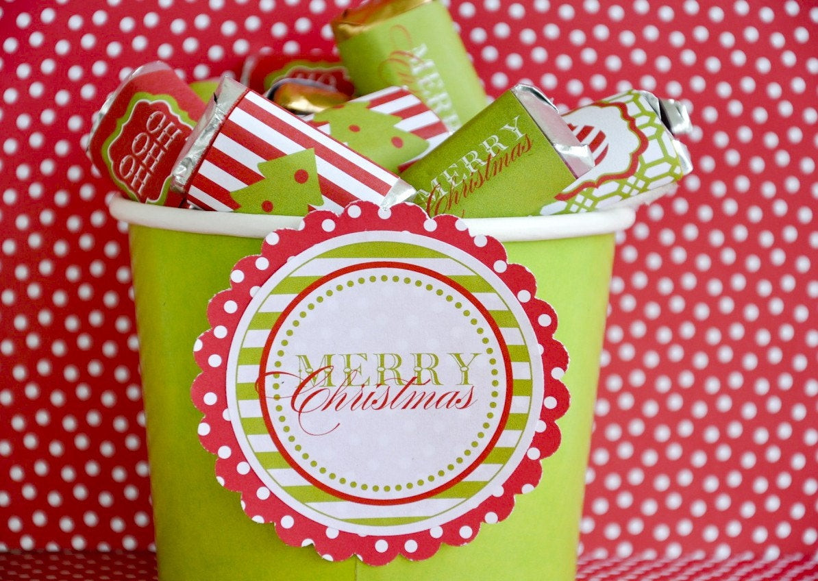 Christmas Candy Wrappers  Traditional Christmas PRINTABLE Party Candy Bar Wrappers