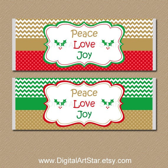 Christmas Candy Wrappers  Christmas Candy Labels Holiday Candy Bar Wrappers