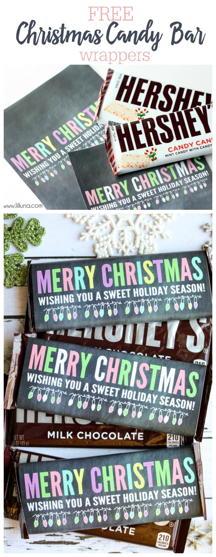 Christmas Candy Wrappers  Merry Christmas Candy Bar Wrappers