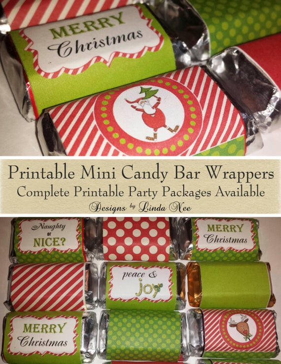 Christmas Candy Wrappers  Candy Bar Wrappers Santa Christmas Mini Hershey Bar Candy