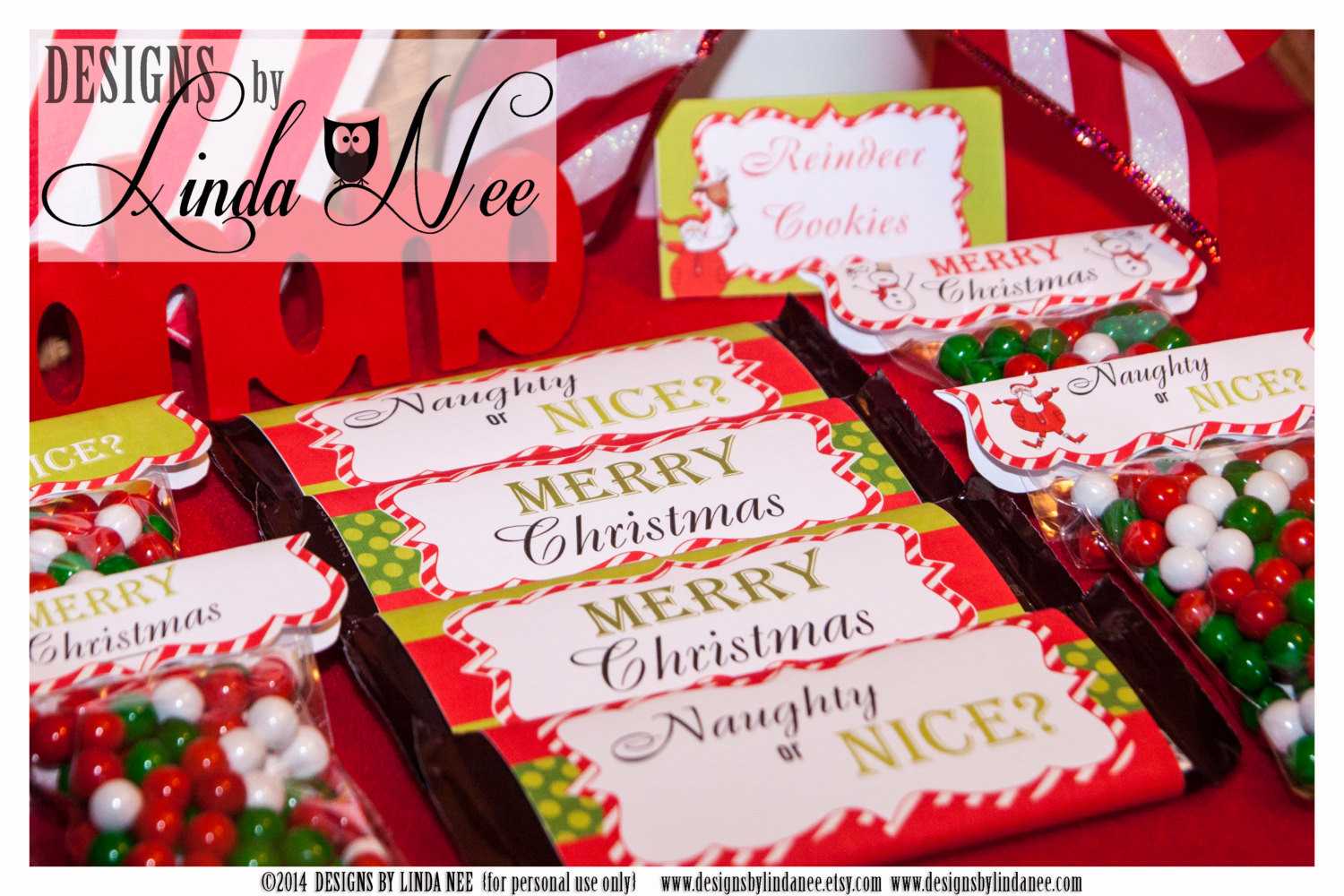Christmas Candy Wrappers  Candy Bar Wrappers Santa Christmas by DesignsbyLindaNee