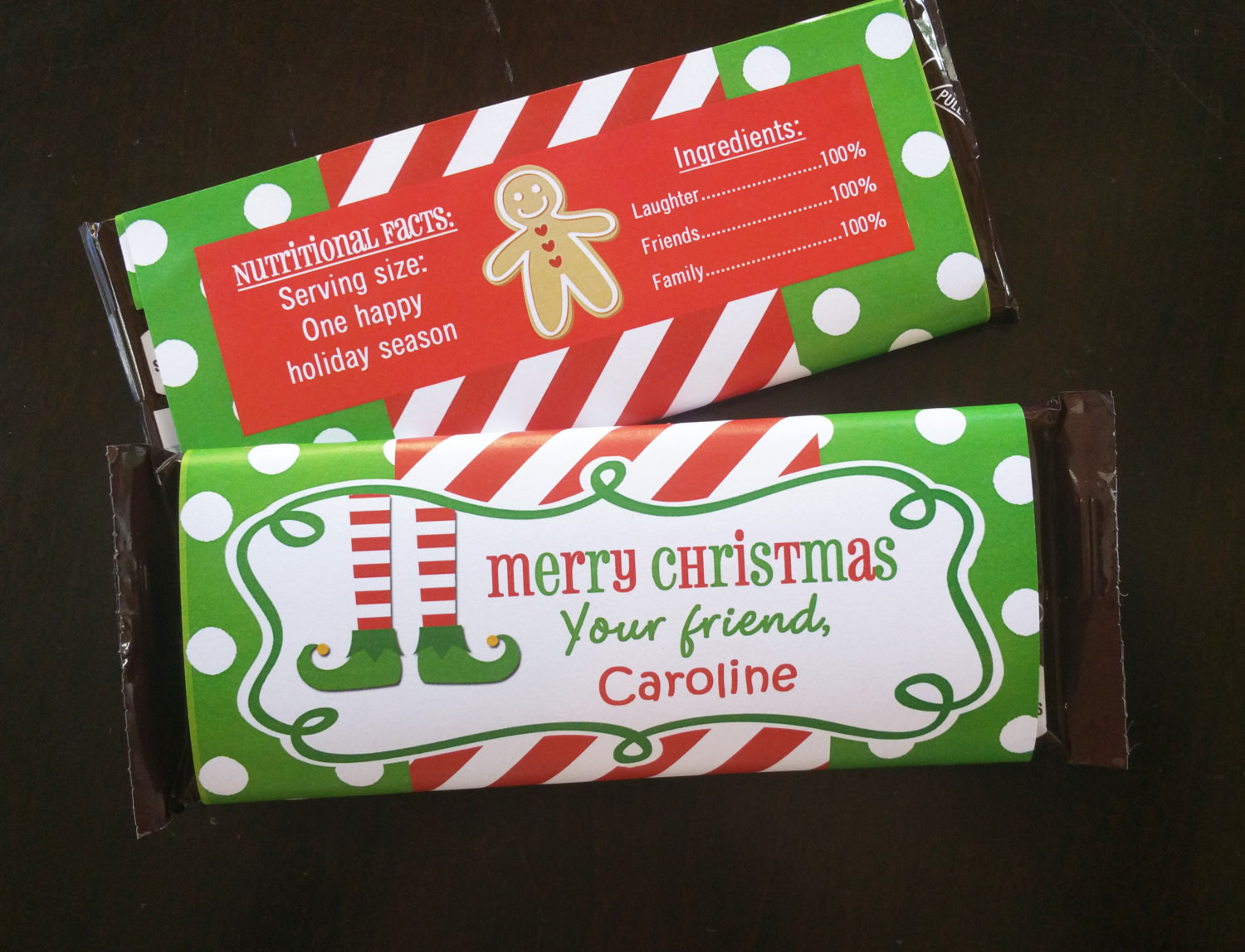 Christmas Candy Wrappers  Personalized Christmas Candy Bar Wrappers Printable Elf Feet