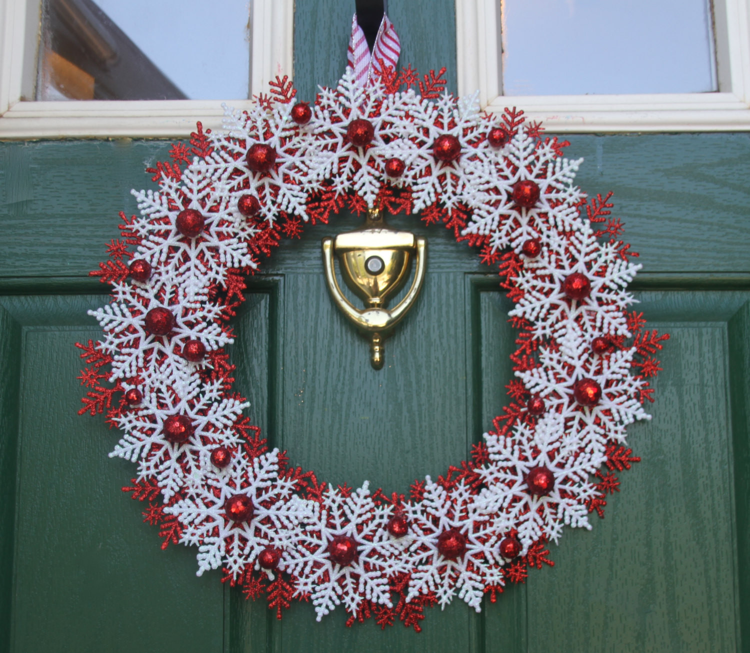 Christmas Candy Wreath  Christmas Snowflake Wreath Candy Cane Wreath Red and White