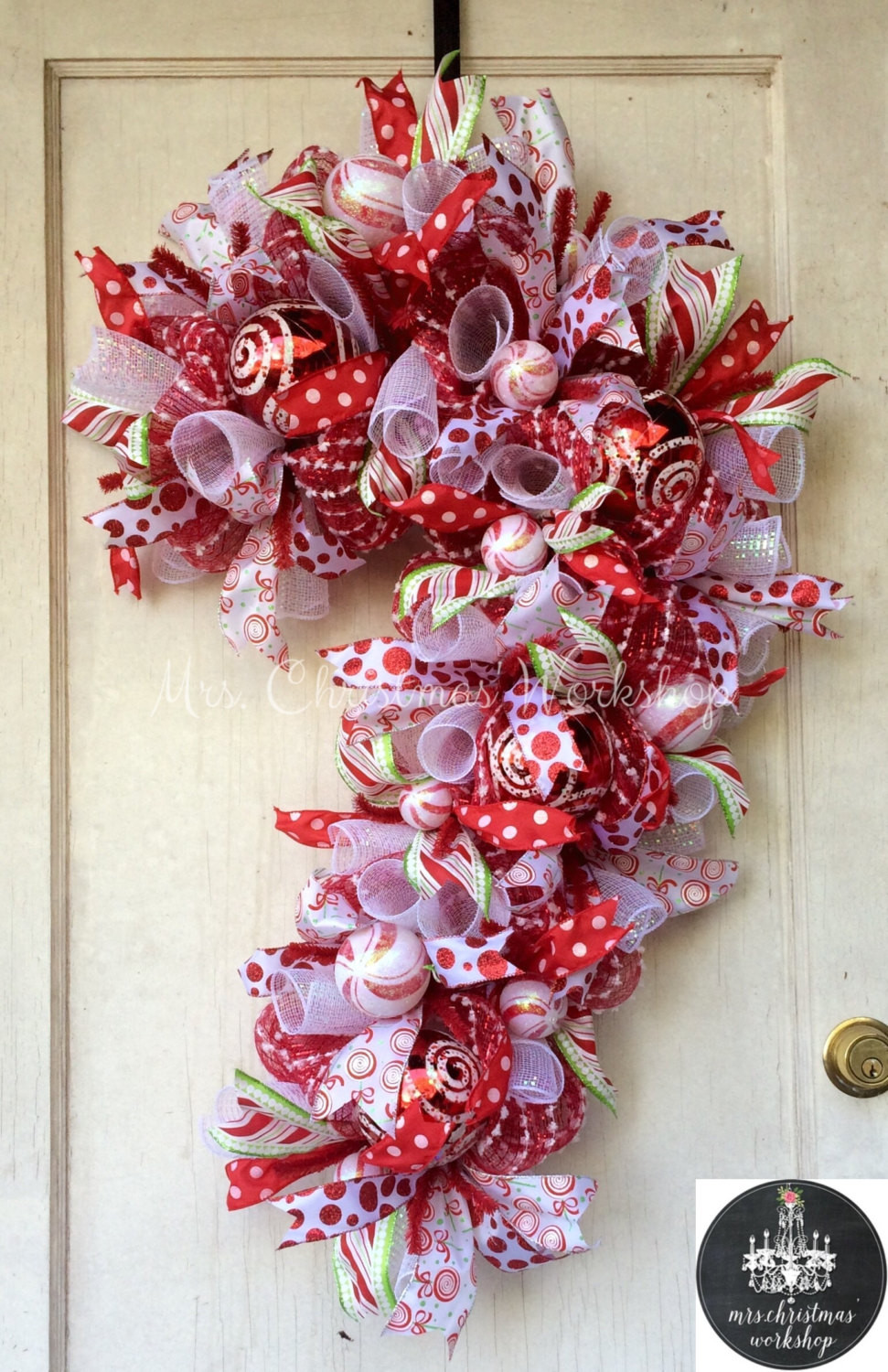 Christmas Candy Wreath  Candy cane Christmas wreath deco mesh wreath candy wreath