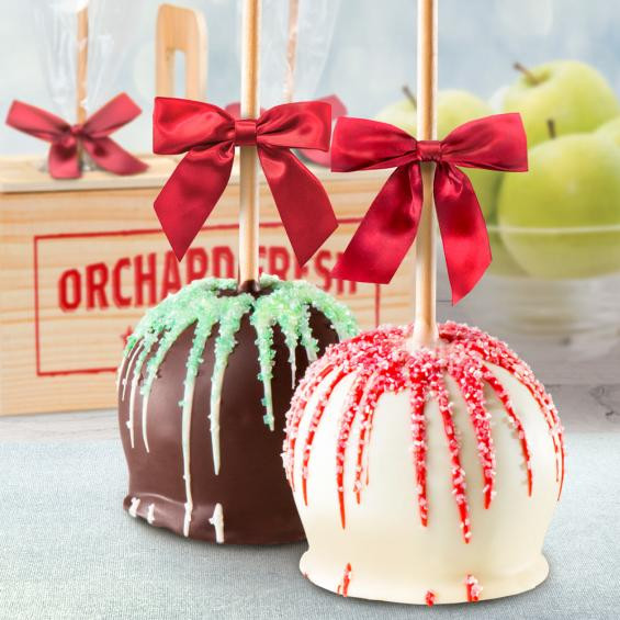 Christmas Caramel Apples  Holiday Chocolate Covered Caramel Apples Pair in a Wooden