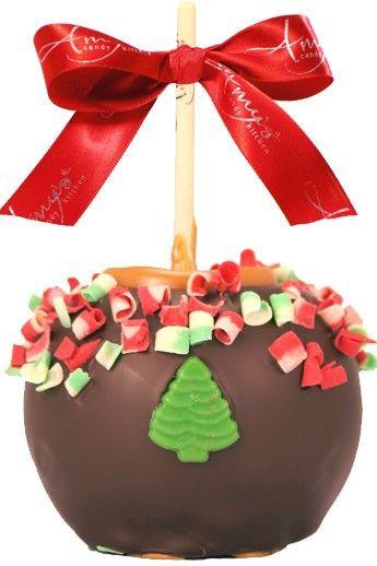 Christmas Caramel Apples  Christmas Curls Caramel Apple w Dark Belgian Chocolate