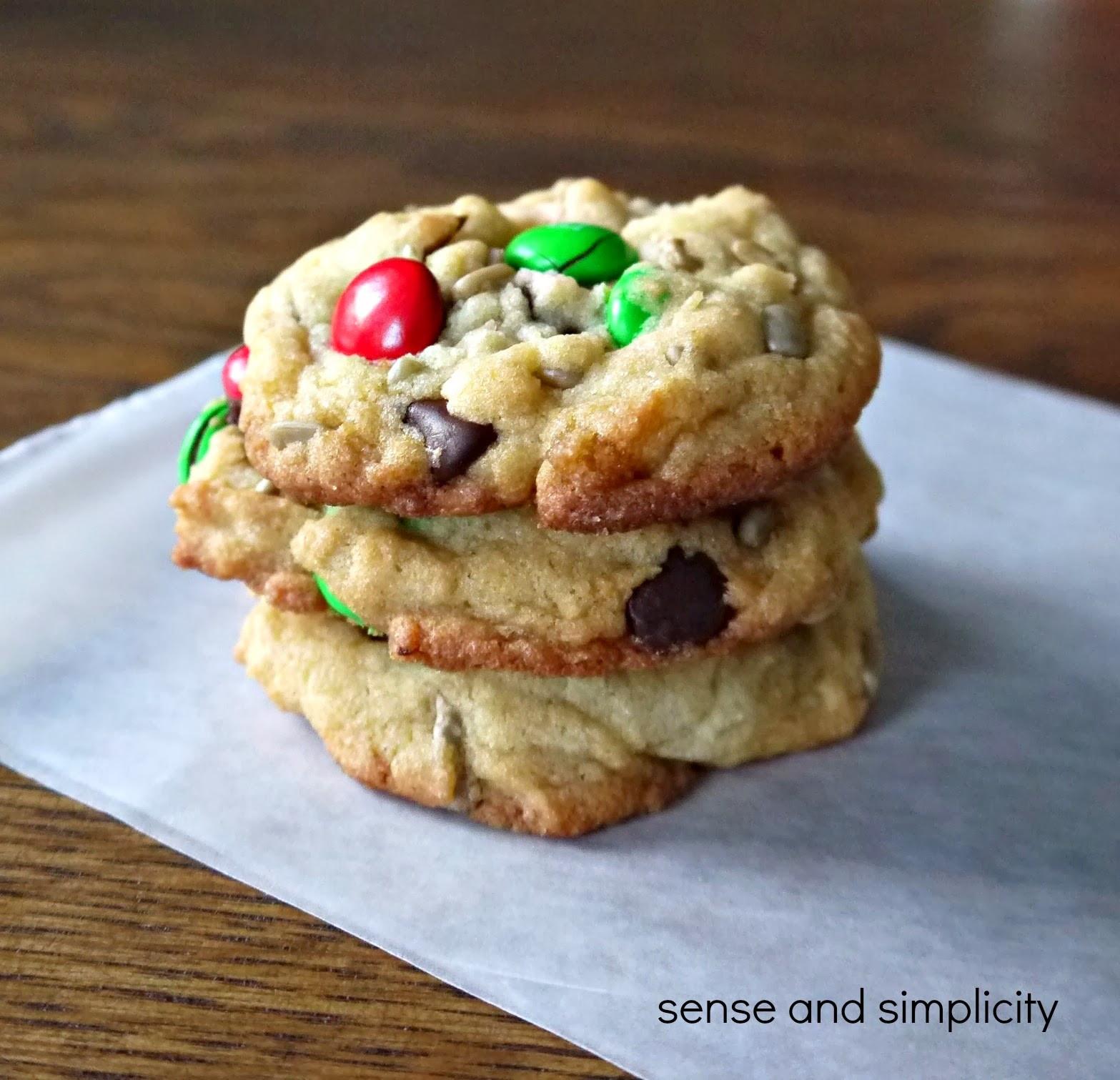 Christmas Chocolate Chip Cookies  Sense and Simplicity Christmas Cookie Week M&M