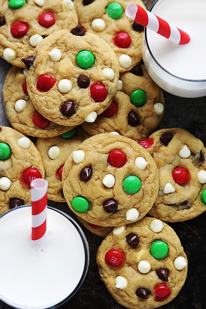 Christmas Chocolate Chip Cookies  Santa s Cookies Double Chocolate Chip M&M Cookies
