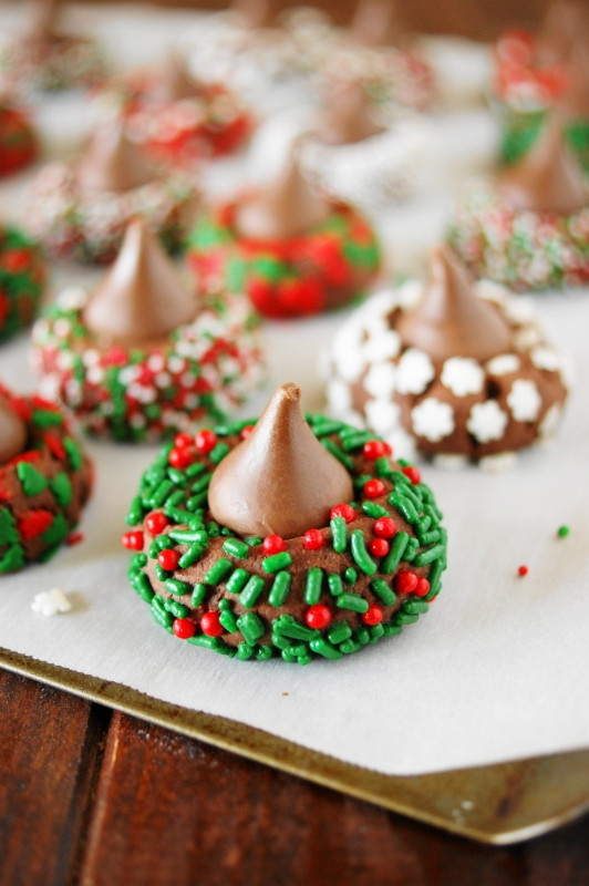 Christmas Chocolate Cookies  Christmas Chocolate Kiss Cookies