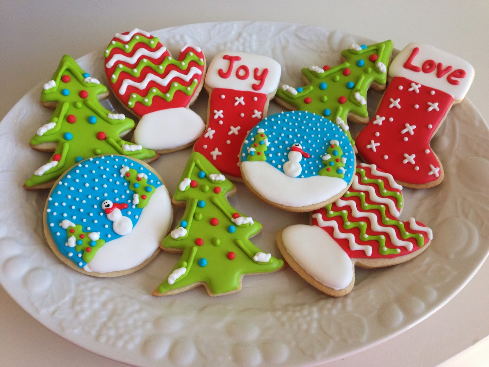 Christmas Cookie Icing  monograms & cake Christmas Cut Out Sugar Cookies with