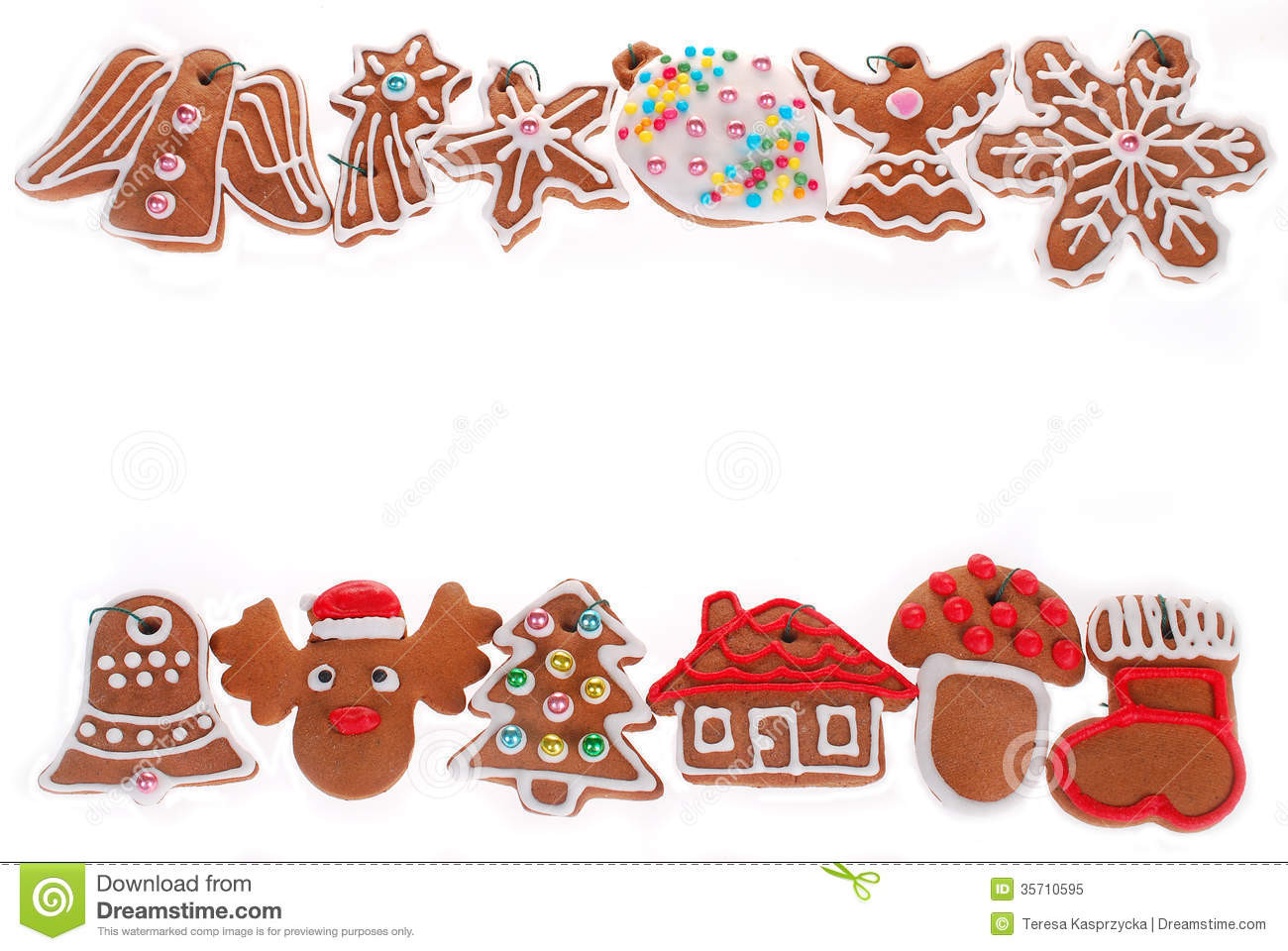 Christmas Cookies Borders  Christmas Border With Gingerbread Cookies Isolated