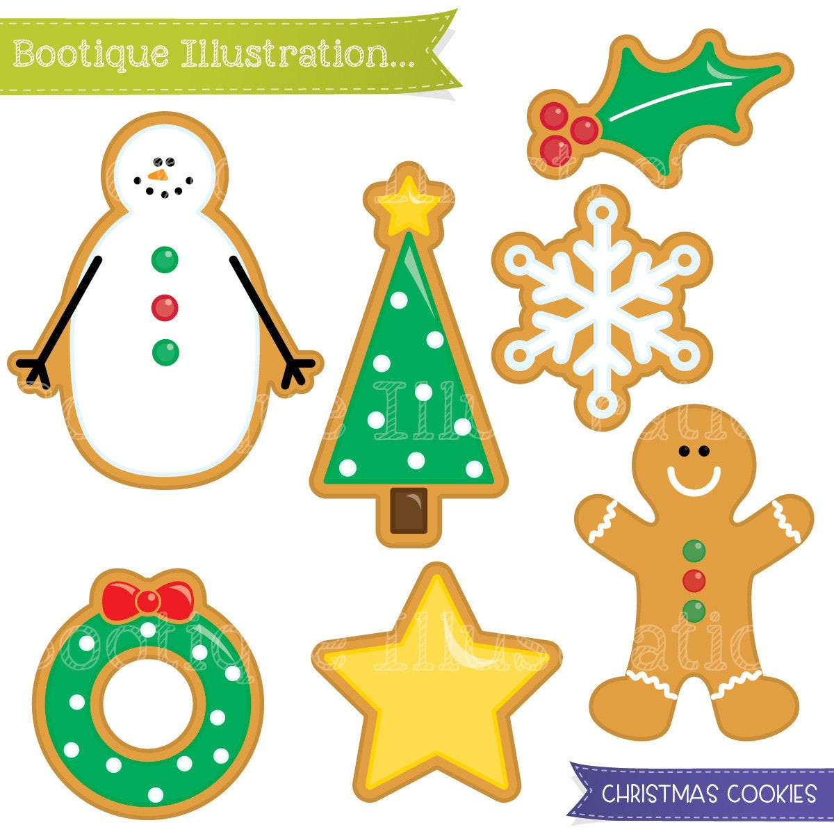 Christmas Cookies Clip Art  Christmas Cookies Clipart Set Xmas Cookies Digital