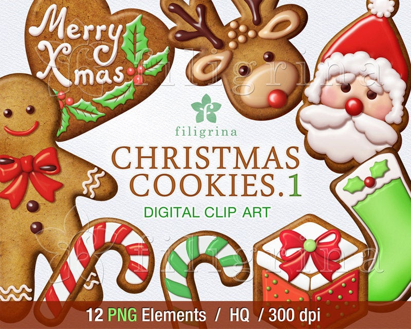 Christmas Cookies Clip Art  Christmas COOKIES digital clip art 12 PNG elements