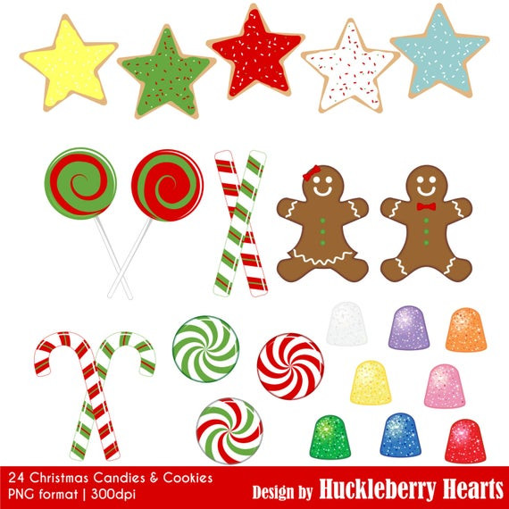 Christmas Cookies Clip Art  OFF SALE Christmas Cookies and Candy Clipart Digital