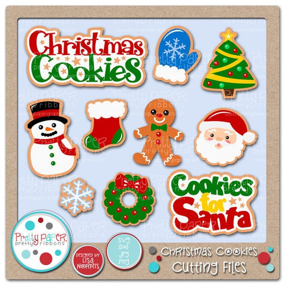 Christmas Cookies Clip Art  Christmas Cookies Cutting Files & Clip Art Instant Download