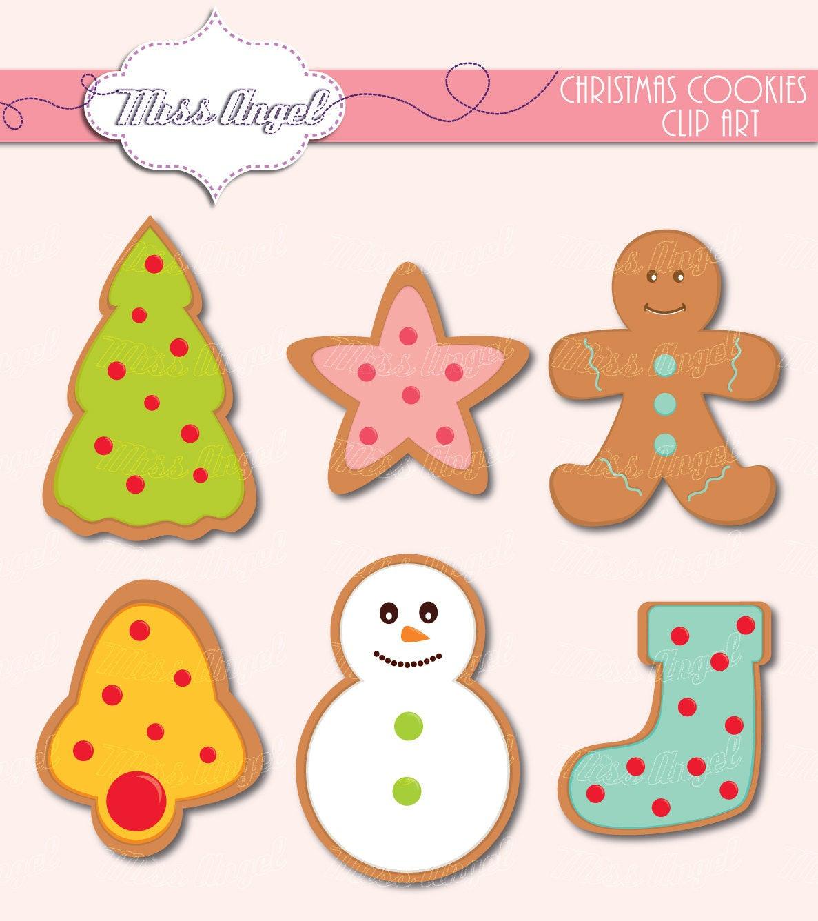Christmas Cookies Clip Art  Christmas Cookies Clip Art 6 Digital Xmas Clipart 6