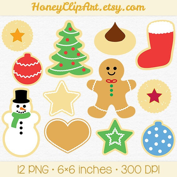 Christmas Cookies Clip Art  Christmas Cookie Clip Art with Gingerbread Man Snowman