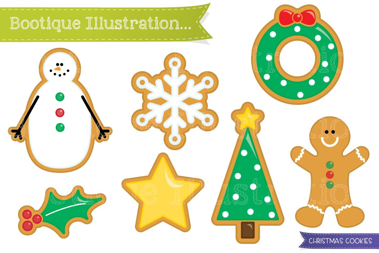 Christmas Cookies Clip Art  Christmas Cookies Clipart Graphics Creative Market