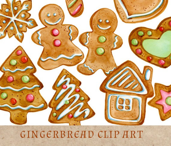 Christmas Cookies Clip Art  Items similar to Gingerbread Cookies Clipart Christmas