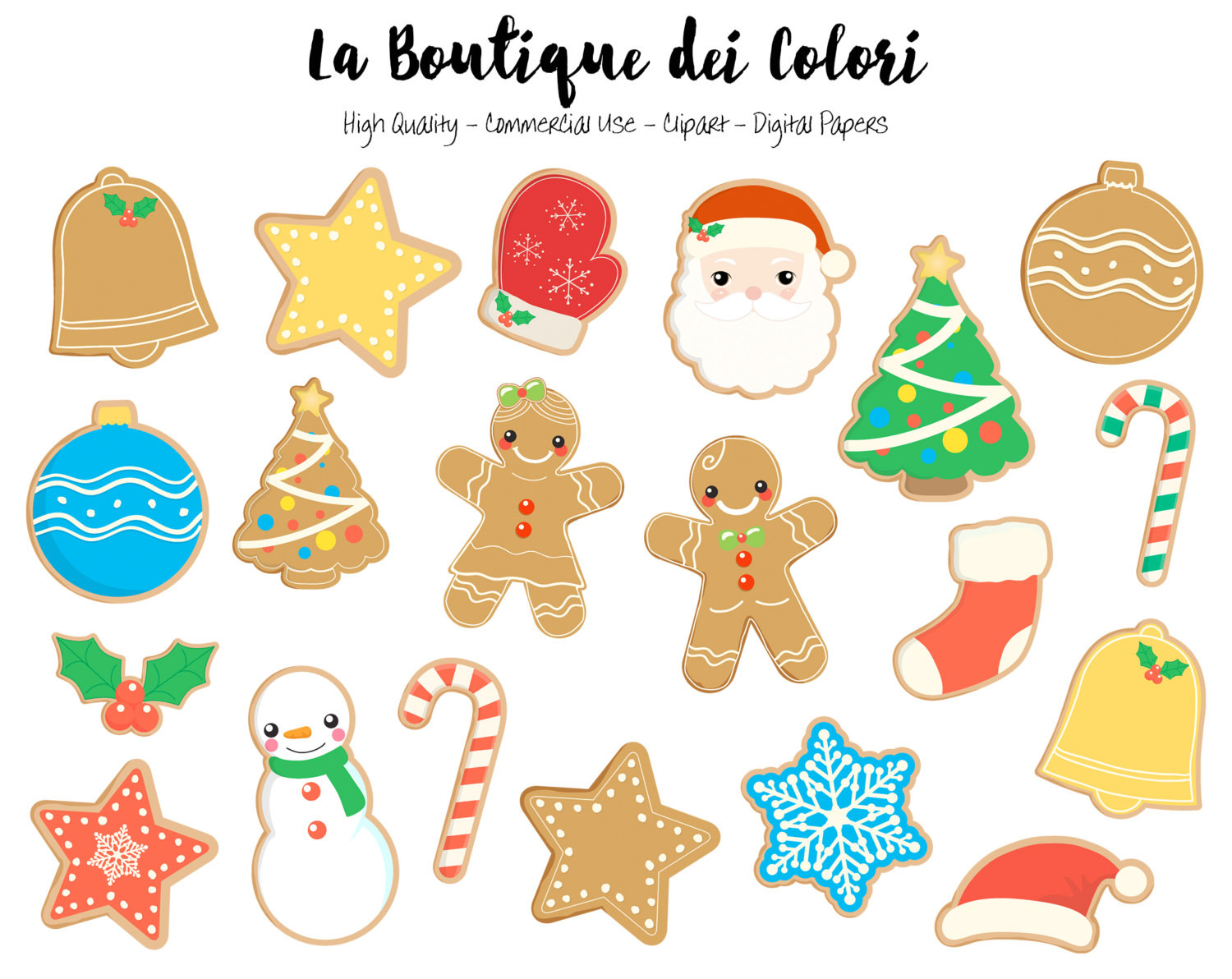 Christmas Cookies Clip Art  Christmas Cookies Clipart Cute Graphics PNG Gingerbread