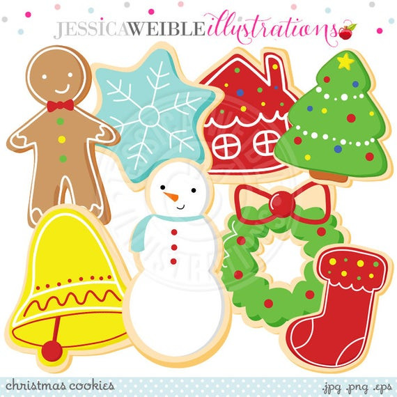 Christmas Cookies Clipart  Christmas Cookies Cute Digital Clipart mercial Use OK