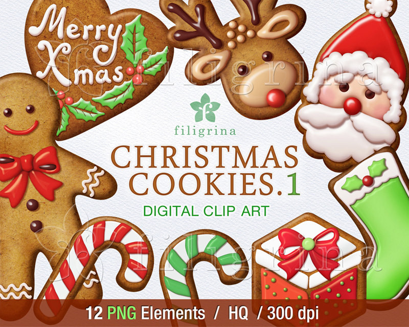 Christmas Cookies Clipart  Christmas COOKIES digital clip art 12 PNG elements