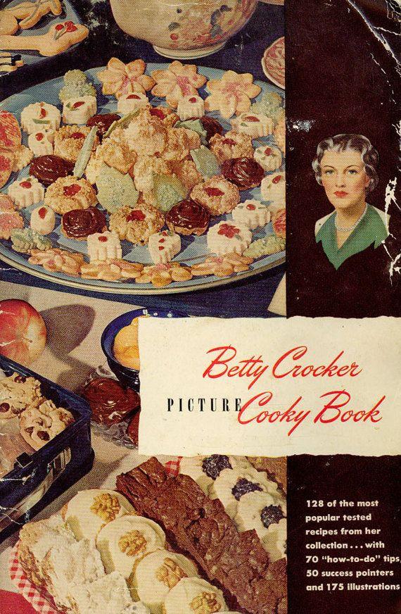 Christmas Cookies Cookbooks  Vintage 1940s Cookbook Betty Crocker s Picture Cooky Book