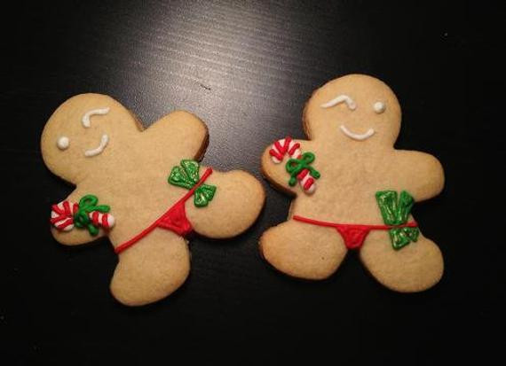 Christmas Cookies Funny  Items similar to Naughty Gingerbread Men Hand Decorated