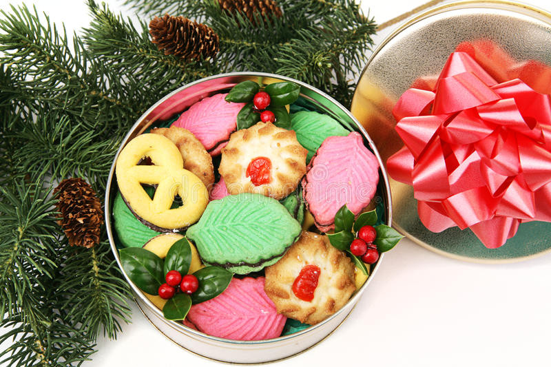 Christmas Cookies In A Tin  Colorful Christmas Cookies Gift Stock Image Image of