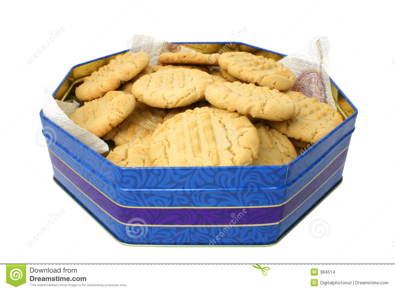 Christmas Cookies In A Tin  Cookies In A Tin Stock Image