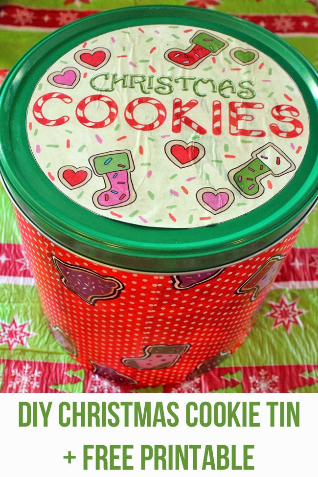 Christmas Cookies In A Tin  punk projects DIY Christmas Cookie Tin Free Printable