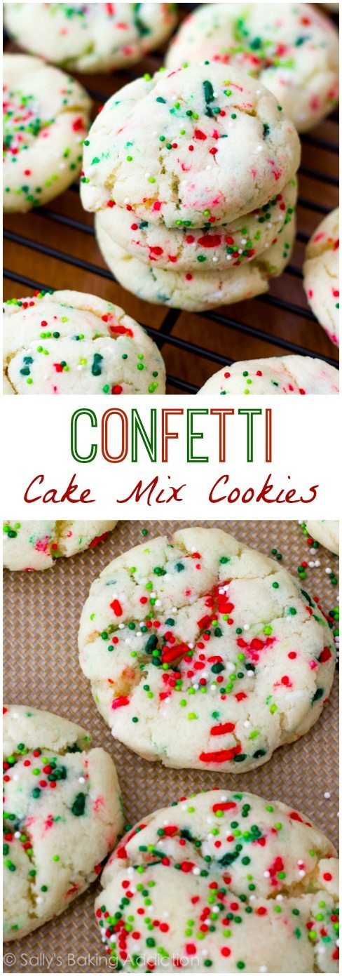 Christmas Cookies Mix  Confetti Cake Batter Cookies Sallys Baking Addiction
