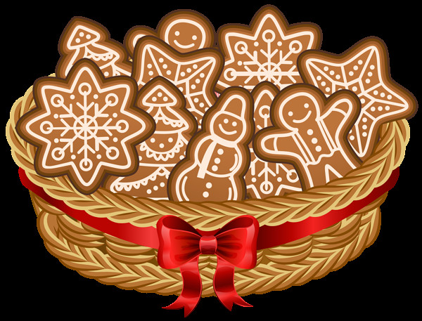 Christmas Cookies Png  Christmas Basket with Gingerbread Cookies PNG Clip Art