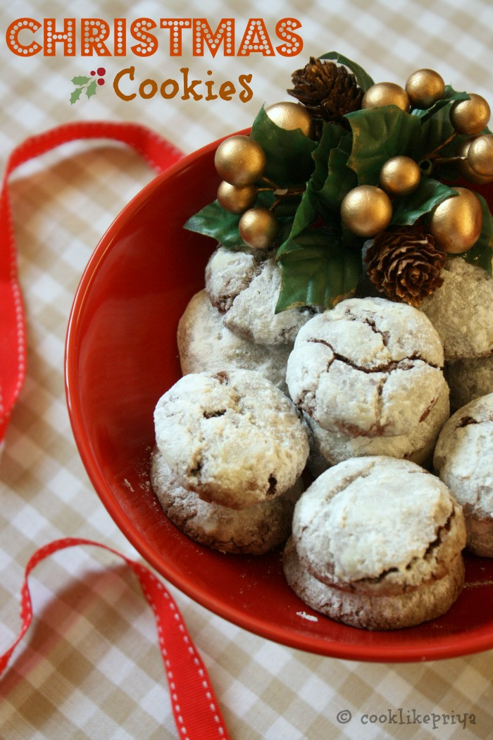 Christmas Cookies Recipe  Cook like Priya Chocolate Crinkles
