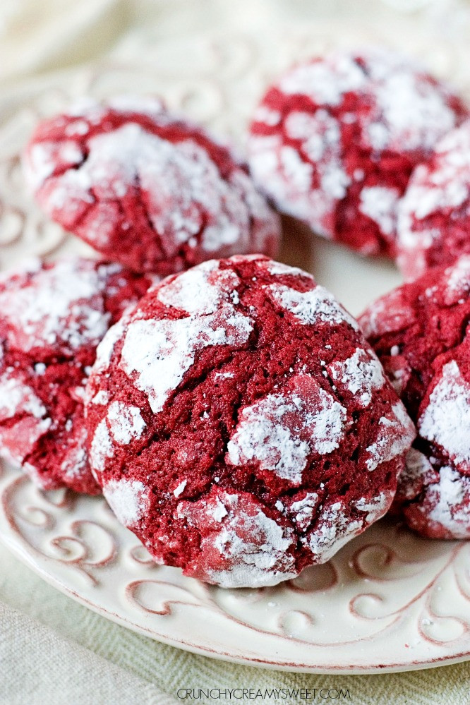 Christmas Cookies Recipes From Scratch  Red Velvet Crinkle Cookies Crunchy Creamy Sweet