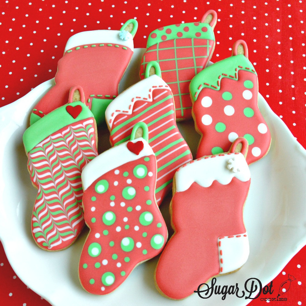 Christmas Cookies To Buy  Stockings with fun wet on wet designs