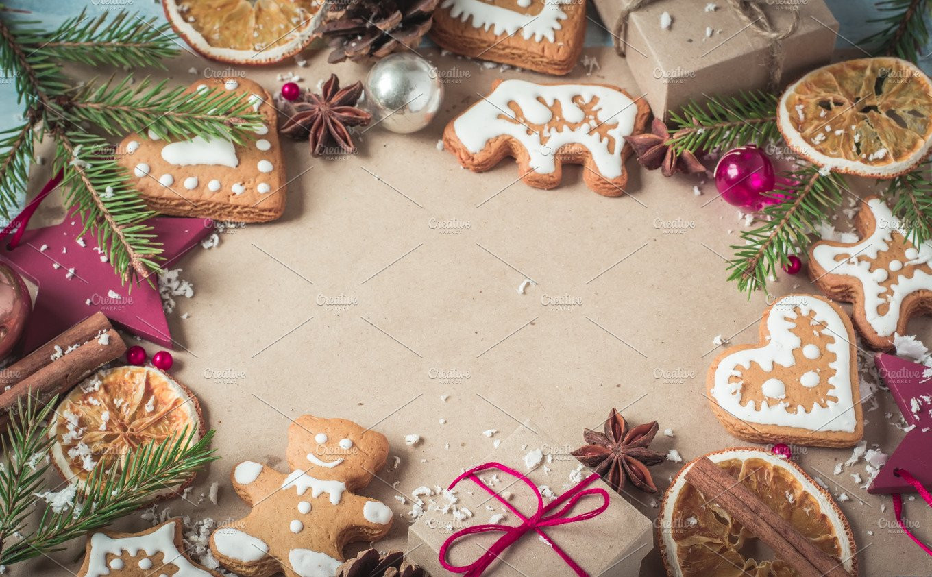 Christmas Cookies Wallpaper  Background ts fir branches and Christmas cookies