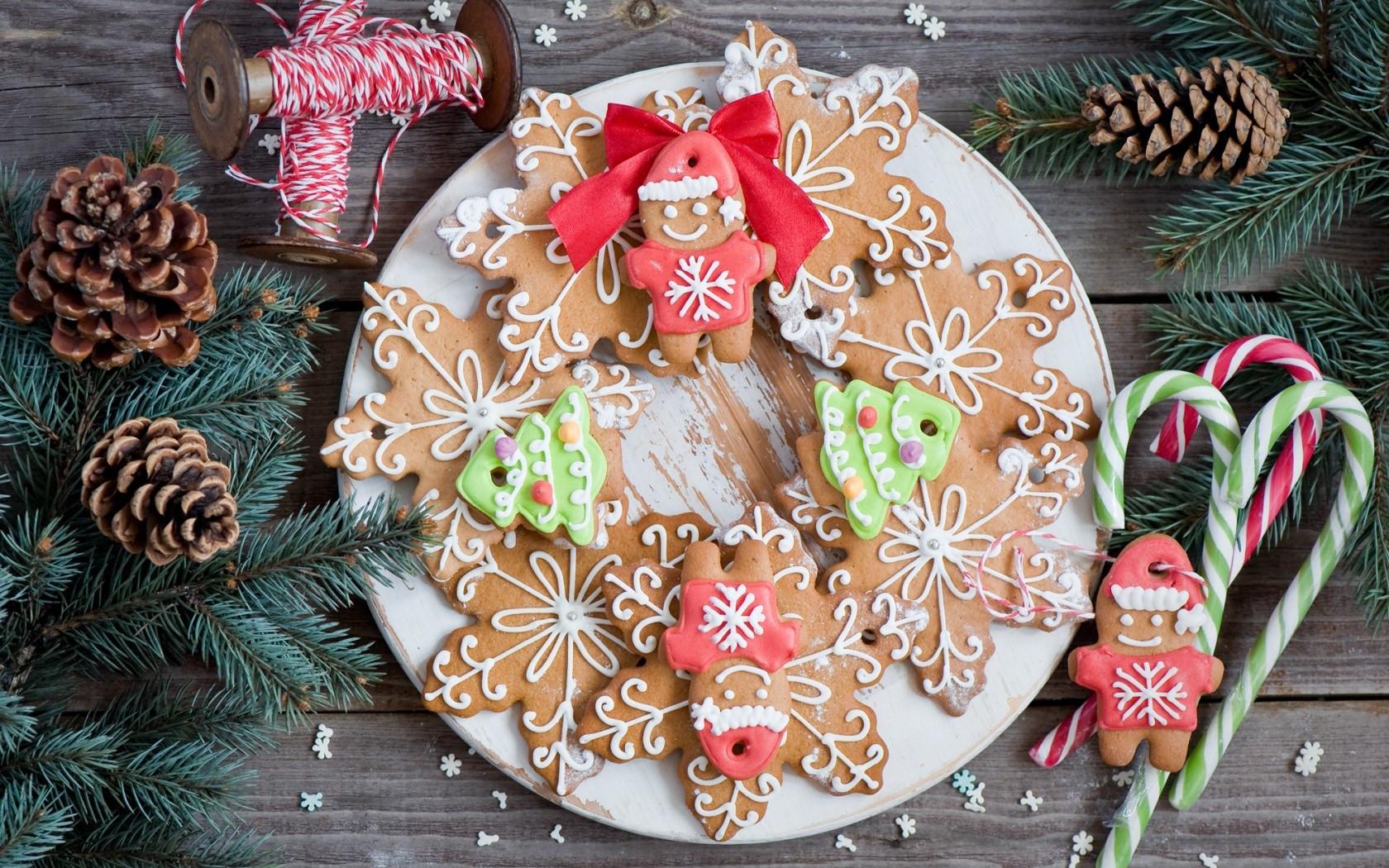 Christmas Cookies Wallpaper  New Year Christmas Cookies Figurines Snowflakes Dessert