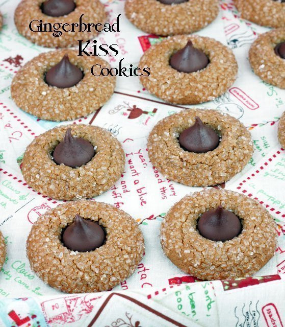 Christmas Cookies With Hershey Kisses  Hershey Kiss Gingerbread Cookies