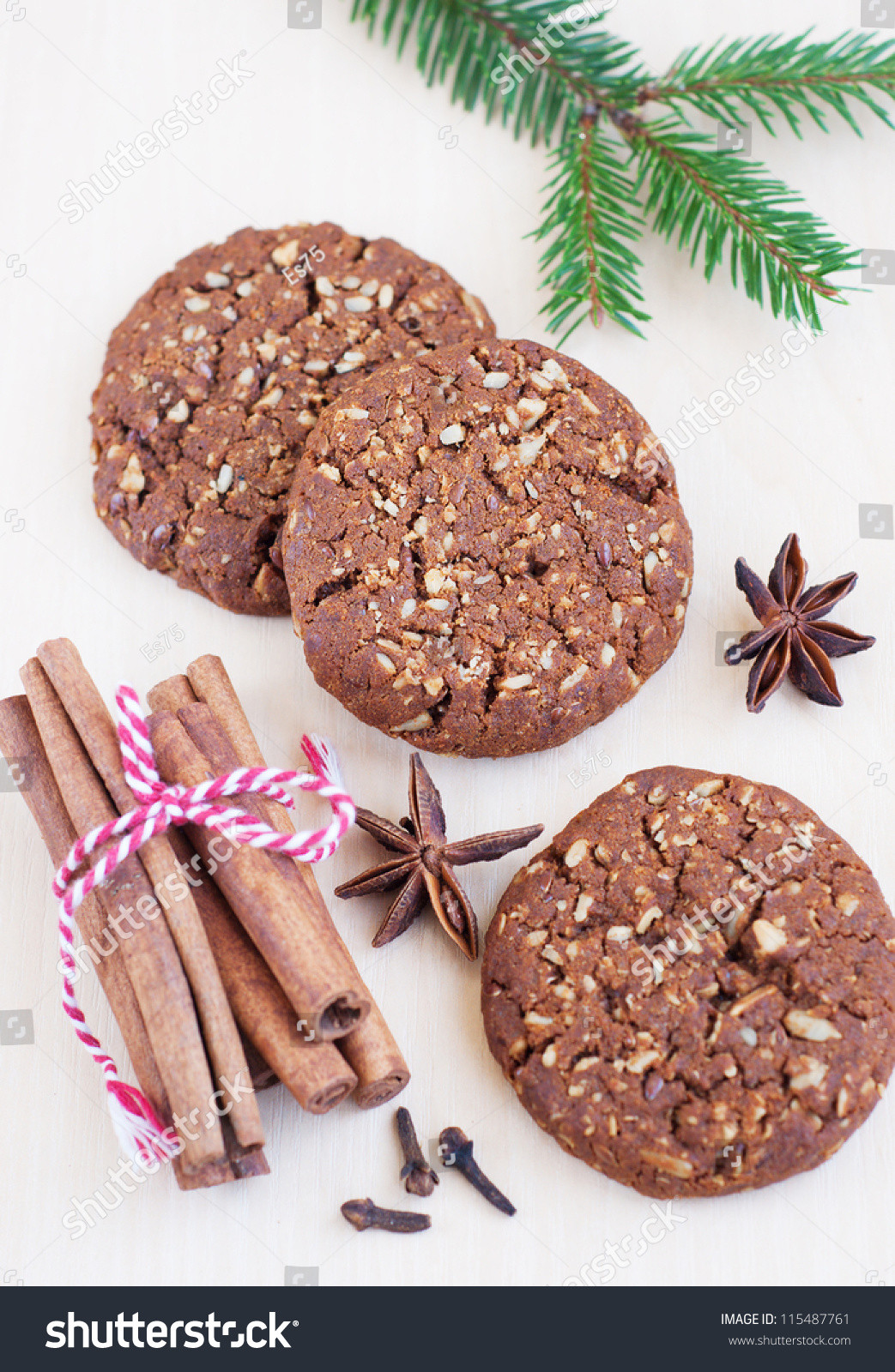 Christmas Cookies With Nuts  Christmas Cookies Nuts And Spices Wooden Table Stock
