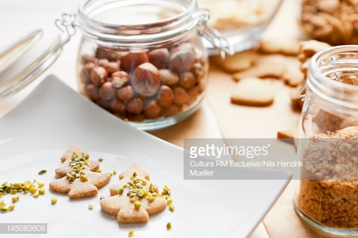 Christmas Cookies With Nuts  Christmas Cookies Decorated With Nuts Stock
