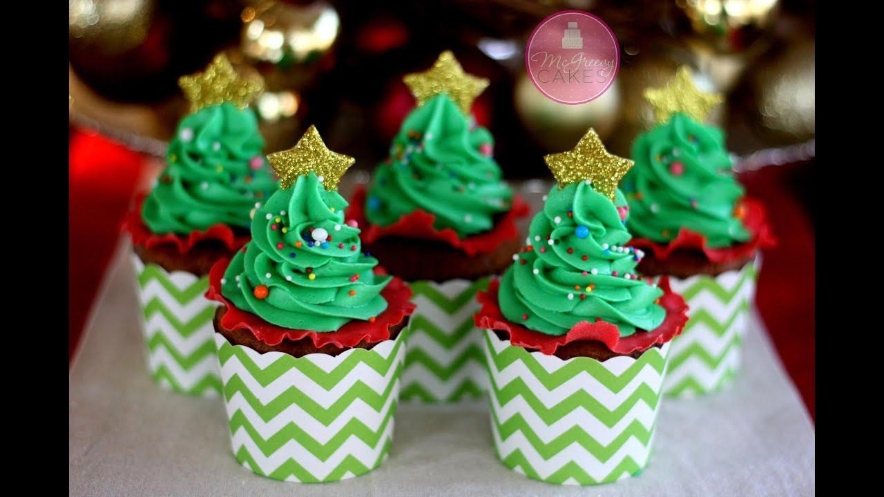 Christmas Cup Cakes  How to Make EASY Christmas Tree Cupcakes