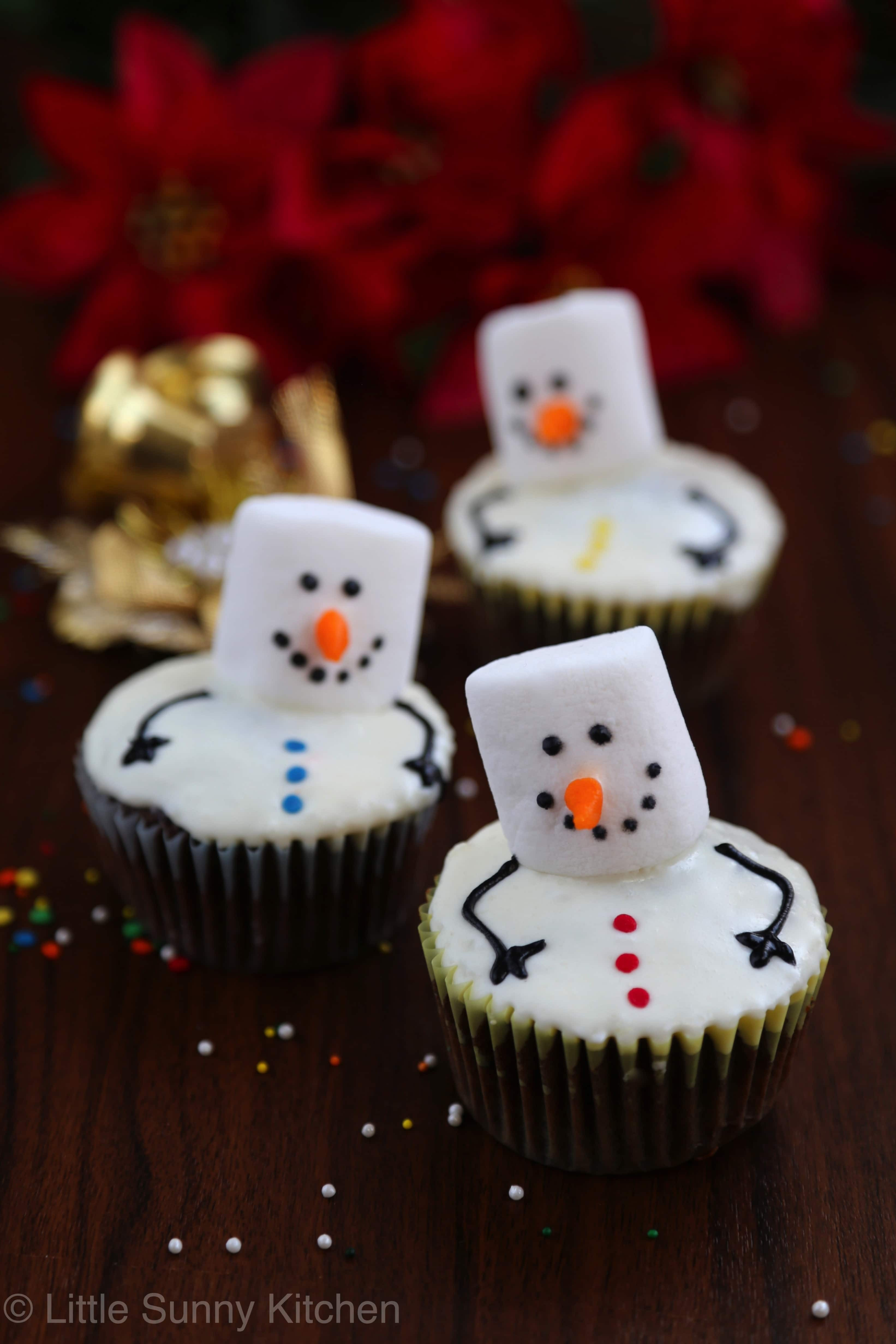 Christmas Cupcakes Cakes  Snowman Cupcakes Little Sunny Kitchen