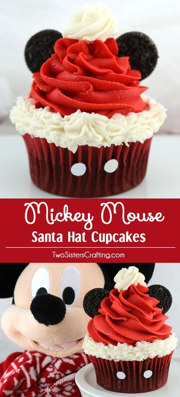 Christmas Cupcakes Pinterest  Mickey Mouse Santa Hat Cupcakes Recipe