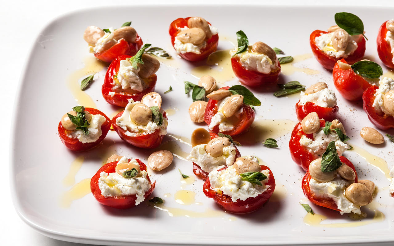 Christmas Day Appetizers  Stuffed Peppadew Peppers with Goat Cheese and Marcona