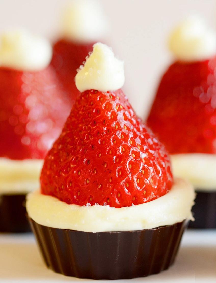 Christmas Dessert Ideas For Parties  Santa Hat Mini Cheesecake Recipe – Christmas Party Dinner